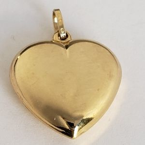 3D 14k gold heart Pendant charm 1 inch long